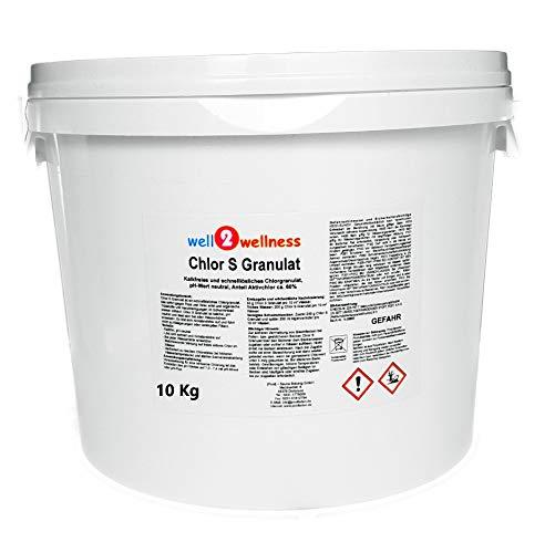 well2wellness Chlor S Granulat - schnell lösliches Chlorgranulat mit über 60 Aktivchlor 10 kg