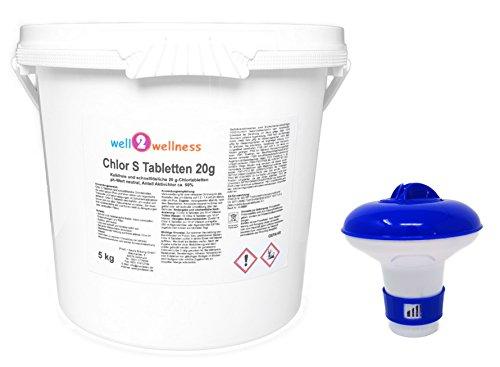 Chlor S Tabletten - schnell lösliche Chlortabs 20g 50 kg plus Dosierer