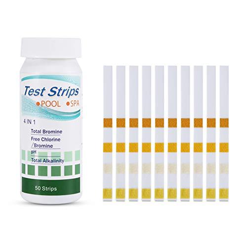 Alftek 50 Stücke 4 in 1 Pool Spa Teststreifen Freies Chlor pH Brom Insgesamt Alkalinität Wasser Testwerkzeug