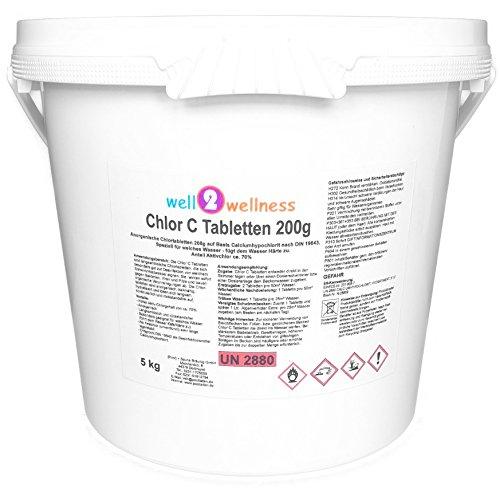 well2wellness Calciumhypochlorit Chlortabletten Chlor C Tabletten 200g - anorganisch speziell für Weiches Wasser - 50 kg