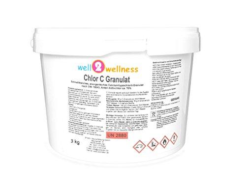 well2wellness Chlor C Granulat - Calciumhypochlorit Granulat mit ca 70 Aktivchlor speziell für Weiches Wasser - 30 kg