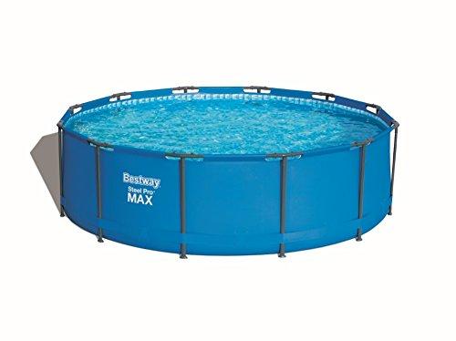 Bestway Steel Pro MAX Frame Pool Set rund mit Kartuschenfilterpumpe und Leiter 366x100 cm blau