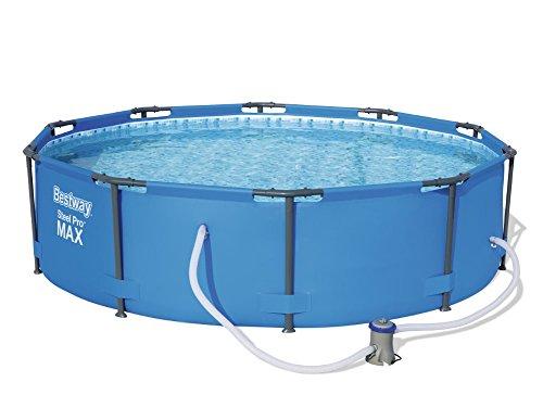 Bestway Steel Pro MAX Frame Pool Set rund 305x76 cm Stahlrahmenpool-Set mit Filterpumpe blau