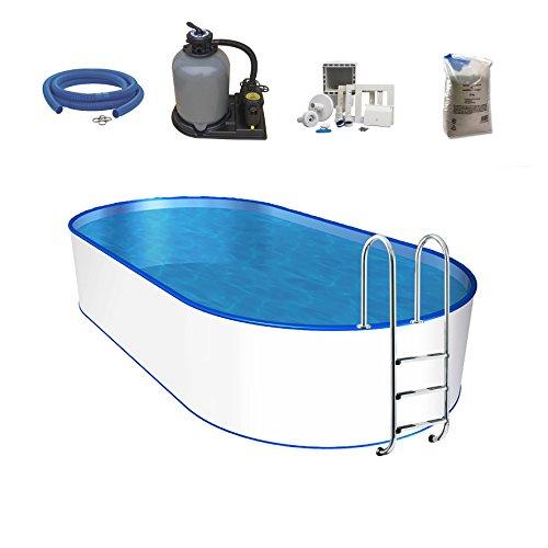 Oval-Pool-Set Größe Tiefe wählbar 06mm Stahlwand 06mm Poolfolie mit Einhängebiese Edelstahl-Tiefbeckenleiter Sandfilteranlage mit 6-Wege-Ventil Filtersand Skimmer- und Schlauch-Set-525 x 320 x 120cm