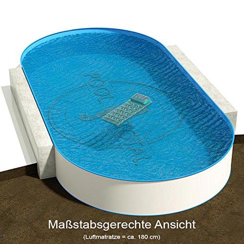 Ovalbecken 1100 m L x 500 m B Tiefe 120 m  Folie 060 mm blau  ovales Stahlwandbecken  Pool Made in Germany