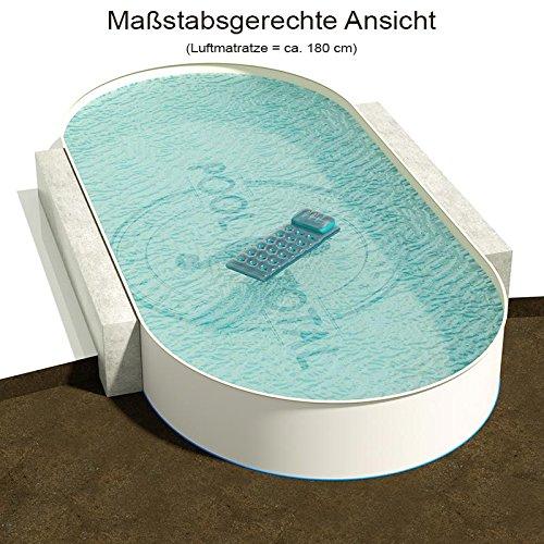 Ovalbecken 1100 m L x 500 m B Tiefe 120 m  Folie 080 mm Sandfarben  ovales Stahlwandbecken  Pool Made in Germany