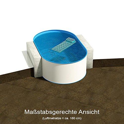 Ovalbecken 490 m L x 300 m B Tiefe 135 m  Folie 060 mm blau  ovales Stahlwandbecken  Pool Made in Germany
