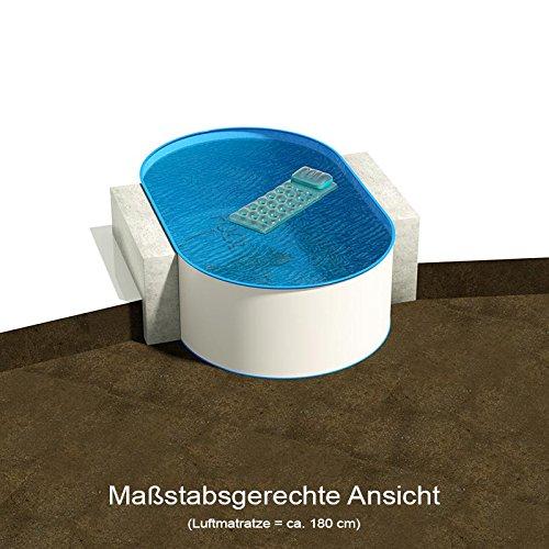 Ovalbecken 525 m L x 320 m B Tiefe 135 m  Folie 060 mm blau  ovales Stahlwandbecken  Pool Made in Germany