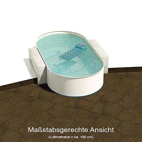 Ovalbecken 600 m L x 320 m B Tiefe 135 m  Folie 080 mm Sandfarben  ovales Stahlwandbecken  Pool Made in Germany