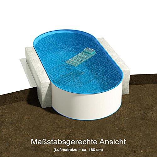 Ovalbecken 737 m L x 360 m B Tiefe 135 m  Folie 080 mm blau  ovales Stahlwandbecken  Pool Made in Germany