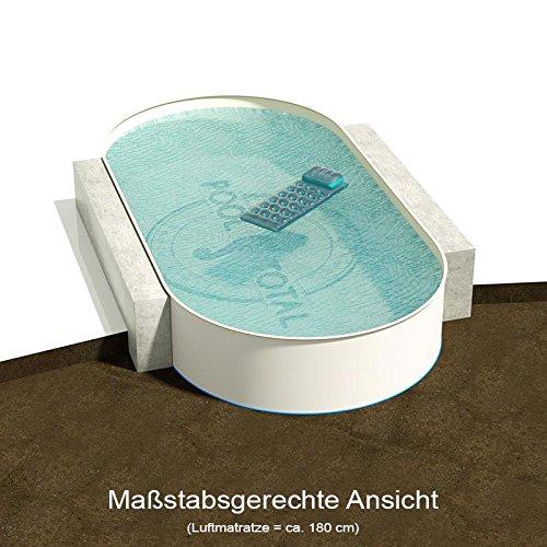 Ovalbecken 800 m L x 400 m B Tiefe 135 m  Folie 080 mm Sandfarben  ovales Stahlwandbecken  Pool Made in Germany