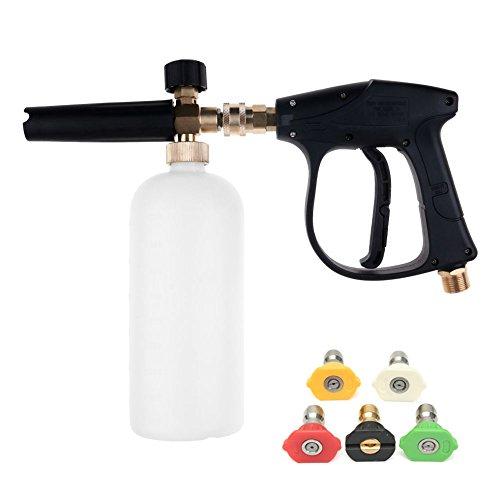 NUZAMAS Hochdruckreiniger Pistole mit 5 Wasserdüse Spitze 1L Schnee Schaum Lanze Flaschenkit für Auto Boden Deck Fenster Reinigung M22 metrische Innengewinde Fitting