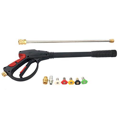 FreeTec 250 Bar Hochdruck Pistole Lanze M22 Adapter mit 5 Düsen für Hochdruckreiniger