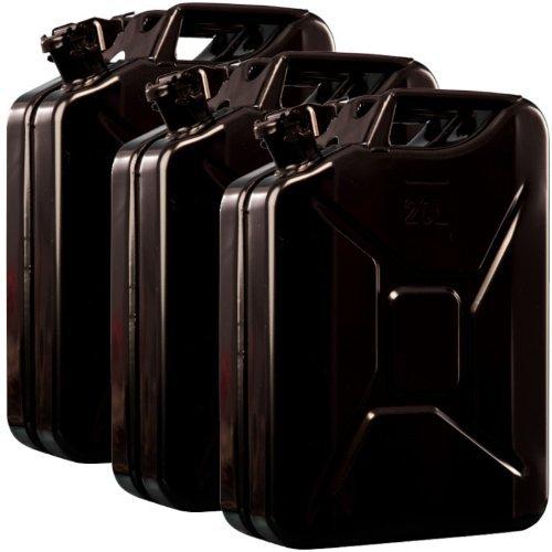 3x Oxid7 Benzinkanister Kraftstoffkanister Metall 20 Liter Schwarz mit UN-Zulassung - TÜV Rheinland Zertifiziert - Bauart geprüft - für Benzin und Diesel