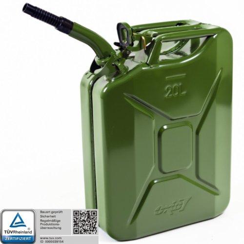 Oxid7 Benzinkanister Kraftstoffkanister Metall 20 Liter Olivgrün inkl Ausgießer mit UN-Zulassung - TÜV Rheinland Zertifiziert - Bauart geprüft - für Benzin und Diesel