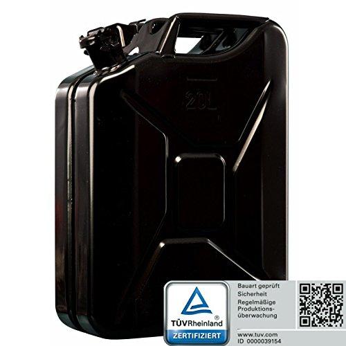 Oxid7 Benzinkanister Kraftstoffkanister Metall 20 Liter Schwarz mit UN-Zulassung - TÜV Rheinland Zertifiziert - Bauart geprüft - für Benzin und Diesel