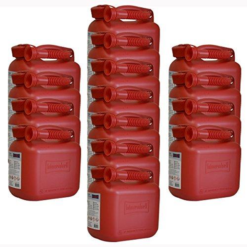 15er Set 15x Benzinkanister 5 Liter in Rot mit UN-Zulassung Made in Germany
