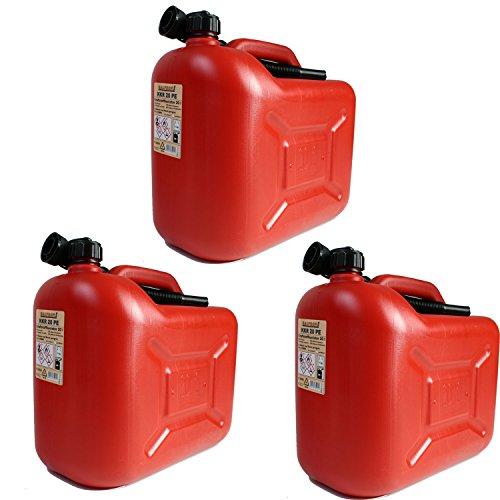 3er Set 3x Benzinkanister 20 Liter rot KKR 20 PE Reservekanister