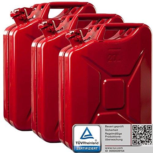 3x Oxid7 Benzinkanister Kraftstoffkanister Metall 20 Liter Rot mit UN-Zulassung - TÜV Rheinland Zertifiziert - Bauart geprüft - für Benzin und Diesel