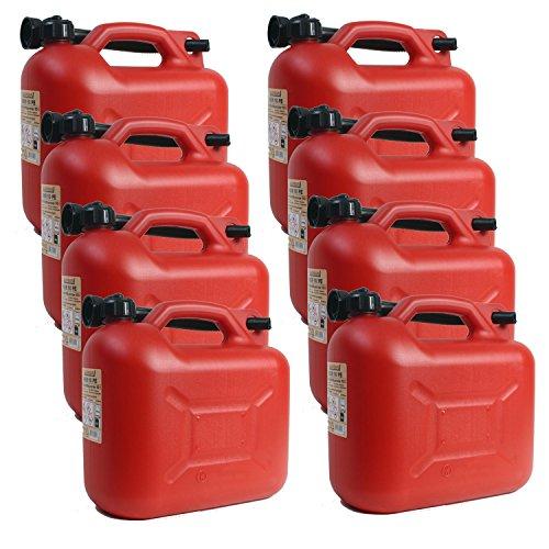 8er Set 8x Benzinkanister KKR 10 PE 10 Liter rot mit UN Zulassung