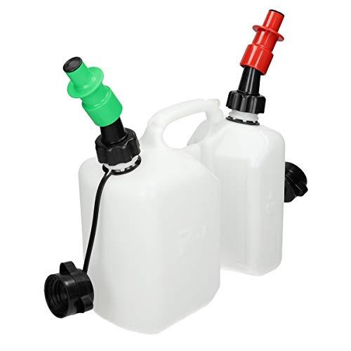 ECD Germany Doppelkanister mit 2 x Sicherheitseinfüllsystem für Kraftstoff und Öl - 3l Kraftstoff und 15l Öl Transparent Kanister - Rot und Grün Einfüllsystem - Kombikanister Benzinkanister