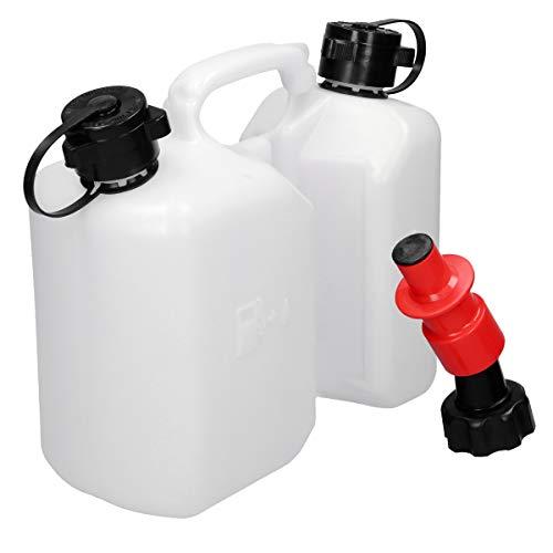 ECD Germany Doppelkanister mit Sicherheitseinfüllsystem für Kraftstoff - 3l Kraftstoff und 15l Öl Transparent Kanister - Rot Einfüllsystem Benzin - Kombikanister Benzinkanister