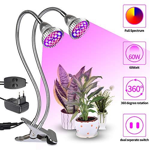 LED Pflanzenlampe XJLED 36W dual Kopf Pflanzenleuchte Voll Spektrum Pflanzenlicht Wachstumslampe Klemmleuchten mit 360 Grad einstellbar Gooseneck für Büro Haus Garten Aquatische Pflanzen Blumen Veg