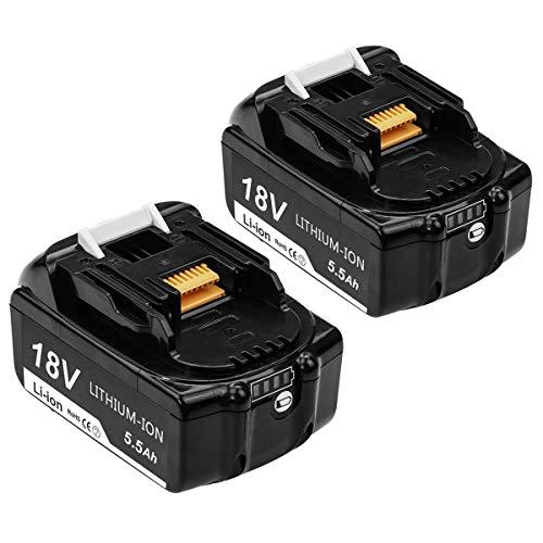 2 Stück Reoben 18V 55Ah BL1860B Lithium Akku Ersatzakku für Makita BL1860B BL1860 BL1850B BL1850 BL1840 BL1830 LXT-400 mit Indikator