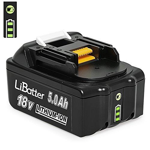LiBatter 18V 50Ah5000mAh Lithium-Ion Werkzeugakkus Kompatibel mit Makita BL1850 BL1850B BL1830 BL1830B BL1815 194205-3 194309-1 LXT400 Werkzeugakkus