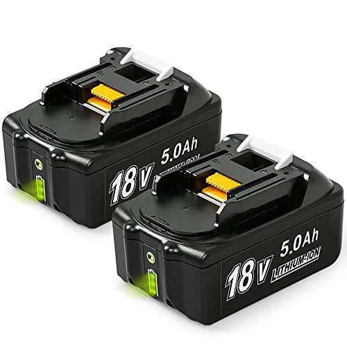 NeBatte 2x BL1850B 18V 50 Ah Lithium Ersatzakkus für werkzeug akku Makita BL1860B BL1860 BL1850B BL1850 BL1830B BL1830 BL1820 LXT-400 mit Indikator(Kostenloser Ersatz bei Problemen)