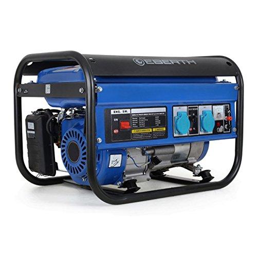 EBERTH 3000 Watt Benzin Stromerzeuger 65 PS Benzinmotor 4-Takt luftgekühlt 2x 230 V 1x 12 V Seilzugstart Automatischer Voltregler AVR Ölmangelsicherung Voltmeter