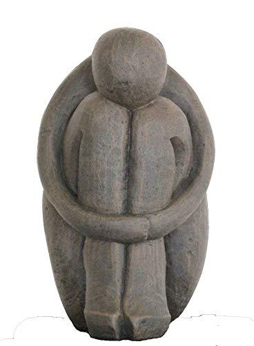 Tiefes Kunsthandwerk Steinfigur Single in Dunkelbraun abstrakte Deko-Figur für Haus und Garten moderne Statue als Garten-figur