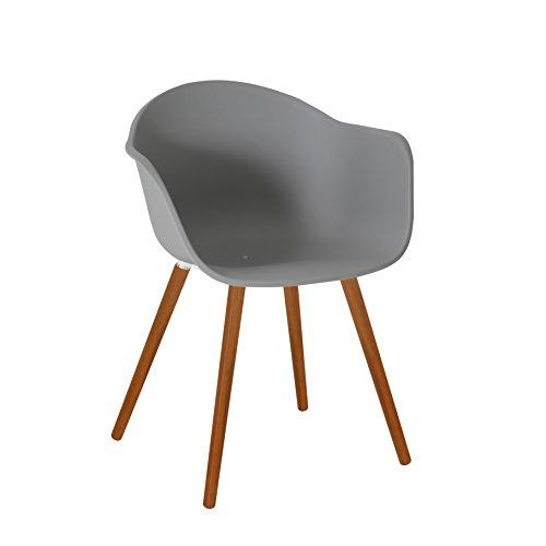 greemotion Gartenstuhl Derby aus Kunststoff in Grau-Stuhl mit Holzbeinen für Garten Balkon Terrasse-Gartensessel mit Armlehne-Lounge Sessel modern 52 x 6 x 8 cm