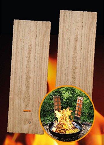 2 Flammlachs-Bretter aus Holz - 2 Ersatz-Holzbretter für Flammlachshalterungen 45 x 15 cm 2355