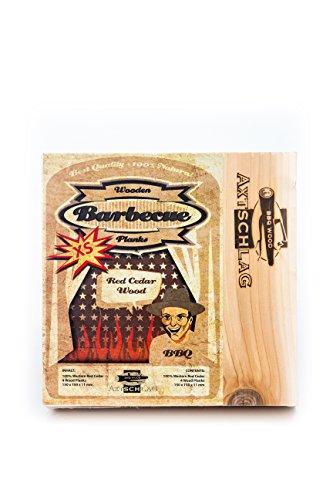Grillbretter Western Red Cedar von Axtschlag  schonendes Grillen und Garen auf natürlichem Holz  Wood Planks Räucherbretter  Größe XS - 150 x 150 x 11 mm  4er Pack