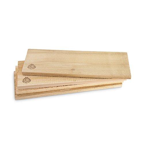 Räucherbretter aus kanadischem Zedernholz Grillbretter Grill-Planken Zedernholzbrett Set glatte und raue Oberfläche unbehandelt Grillzubehör für BBQ Gratis Rezept PDF - 4er Set