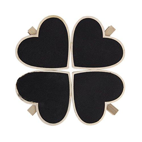 ultnice Holz Nachricht Schwarzes Brett Herz Form Mini Kreidetafel mit Clips Knöpfen für Hochzeit Party Dekoration