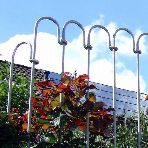 Steckzaun aus verzinktem Stahl 1m Gartenzaun Teichzaun aus einzelnen Stahlstäben ROSTFREI einfacher Aufbau Schutzzaun Metallzaun Zaun