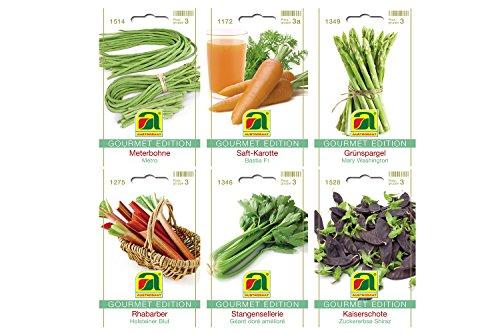 6 Sorten  Gemüsesamen Sortiment  Gourmet Edition  Set für Saftkarotte Rhabarber Stangensellerie Grünspargel Meterbohne Kaiserschote  für Anzucht im Garten-Beet und Balkon