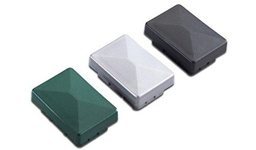 5 x Grüne Pfosten-kappe  Pfostenabdeckung aus Kunststoff für Metallpfosten  Pfosten für Doppelstab-Zaun im Maß 6 x 4 cm