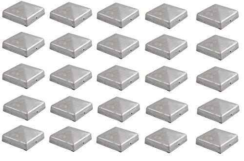 25x Pfostenkappe verzinkt 101 mm Pyramide Abdeckkappe für Pfosten 10 x 10 cm