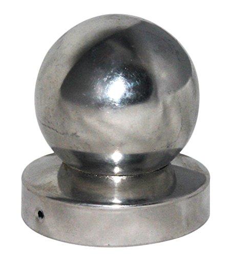 Pfostenkappe rund Edelstahl mit Kugel für Rundpfosten 9 cm inkl VA-Schrauben
