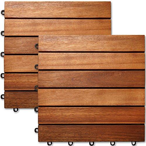 Deuba 33x Holzfliesen Akazie  3m² Fliese 30x30 cm Stecksystem Mosaik  Zuschneidbar Terrasse Balkon Holzboden Klick