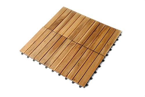 SAM Holz-Fliese aus Akazie Fliese 01 Einzelfliese 30 x 30 x 24 cm Klick-Fliesen für Balkon Garten Terrasse