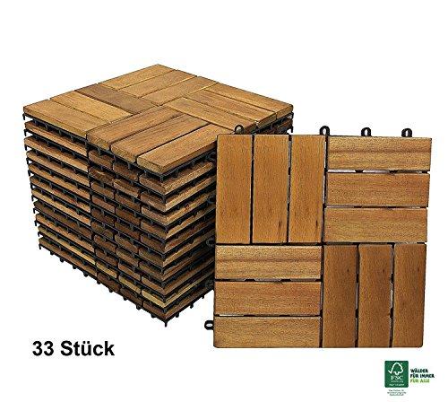 SAM Terrassen-Fliese Variante 2 aus Akazien-Holz 33er Spar-Set für ca 3m² Garten-Fliese mit 12 Latten Balkon Bodenbelag mit Drainage Unterkonstruktion FSC 100 Zertifiziert klick-Fliesen