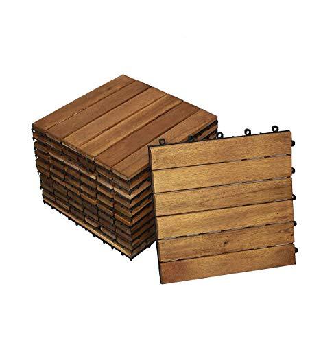 SAM Terrassen- Holzfliese 01 Akazie FSC 100 11 Klick-Fliesen für 1m² 30x30cm Garten- Bodenbelag mit Drainage