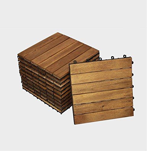 SAM Terrassenfliese 01 Akazienholz 33 Fliesen für 3m² 30x30cm FSC 100 Bodenbelag Drainage Garten- klick-Fliesen