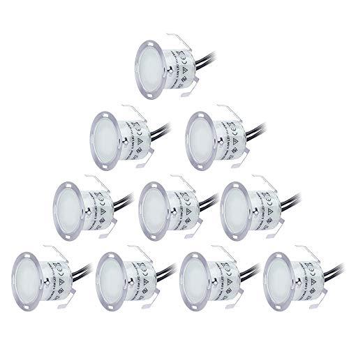 BRIGENIUS LED-Einbaustrahler 10 Stück LED-Bodeneinbauleuchte IP67 wasserdicht 3200K Warmweiß DC12V 32mm Deckenstrahler Außenleuchten für Küchentreppe Balkon Terrasse