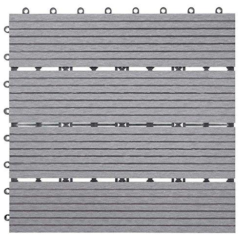 Mendler WPC Bodenfliese Rhone Holzoptik BalkonTerrasse 11x je 30x30cm  1qm ~ Basis grau linear