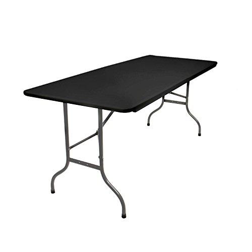 Vanage Klapptisch in schwarz - Gartentisch mit Kunststoff Tischplatte und Stahlgestell - Beistelltisch für Garten Terrasse und Balkon - Buffettisch mit Tragegriff